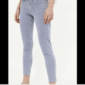Zara Basic pinstriped distressed skinny jeans